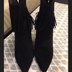 Women's Suede High Heel Ankle Boots with Fringes
